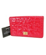 Authentic CHANEL Red Puzzle Design Leather Long Wallet Coin Purse #38682B - $233.10