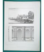 ARCHITECTURE (2) PRINTS 1864 - PARIS Louvre Petite Galerie View Facade D... - $21.60