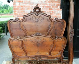 French Antique Carved Solid Walnut Louis XV Queen Size Bed | Bedroom Fur... - $2,990.00