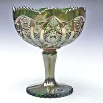 Imperial Carnival Glass Green Octagon Large Compote Comport Candy Chalice Label image 10