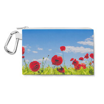 Red Poppies Field Canvas Zip Pouch - $15.99+