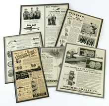 Mixed Lot of 6 Vintage Fishing Newspaper/Magazine Advertisements, Laminated - $45.53