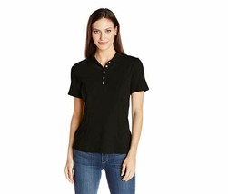 Riders by Lee Indigo Women's Morgan Short Sleeve Polo Shirt Black Soot XL NEW - $12.88
