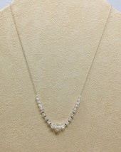 Vintage Crystal And Sterling Silver Petite Necklace On Fine Link Chain 1950s - $23.38
