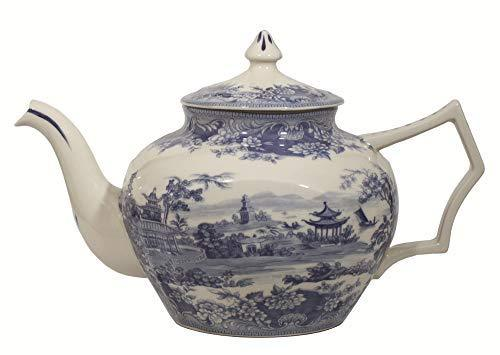 "Madison Bay Co. 10 1/2"" Pagoda Blue/White Transferware Porcelain Teapot - Antiqu"
