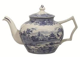 "Madison Bay Co. 10 1/2"" Pagoda Blue/White Transferware Porcelain Teapot ... - $49.00"