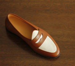 Handmade Men's Brown & White Slip Ons Loafer Leather Shoes image 3