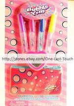 LOTTA LUV 6pc BUBBLE YUM Flavored Lip Gloss+MIRROR+COSMETIC BAG Set New! - $8.99