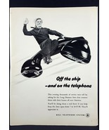 1945 Bell Telephone Sailor Telephone WWII Vintage Magazine Print Ad - $7.43