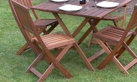 Wood Garden Dine Set Foldable Patio BackYard Durable Furniture Table 4 Chair New image 3