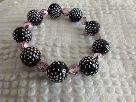 """Unique 7""""VINTAGE Disco Ball Black Pink Polka Dot Beaded Stretch Bracelet,Crystal - $7.91"""