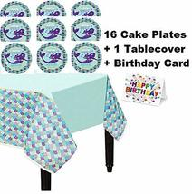 Mermaid Wishes Girl Green Party Tablecover Tablecloth 16 Cake Plates Bir... - $14.80