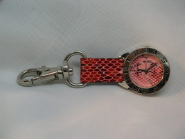 """L53, CONCEPTS, Ladies 3.5"""" Clip On Watch, Silver Tone, Variated Pink Strap, wb - $12.79"""