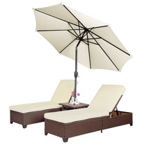 4 PC Outdoor Patio Rattan Wicker Chaise Lounge Chair with 9' Adjustable ... - $425.99