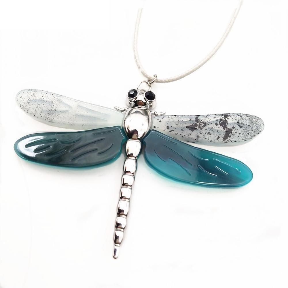 Women Dragonfly Necklace Pendant Zinc Alloy Statement Color Collar Accessories image 11
