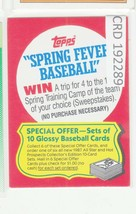 1987 Topps Baseball Spring Fever Entry Card win a trip  192289 - $0.98