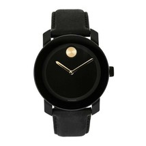 BRAND NEW MOVADO BOLD 3600480 BLACK LEATHER STRAP GOLD ACCENT MENS WATCH - $227.69