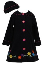 Bonnie Jean Little Girls 4-6X Black/Pink Daisy Flower Border Fleece Coat/Hat Set