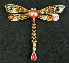 Signed JOAN RIVERS Large Plique a Jour Dragonfly Brooch Pin Stained Glas... - $69.99