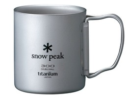 Snow Peak Titanium Double Wall Cup 300 with Folding Handle MG-052FHR - $84.71 CAD