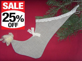 Christmas Stocking New Estonian Handmade 100% Linen with Natural Sheepsk... - $16.13