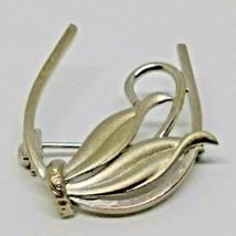 Roma Vtg 925 Sterling Silver Floral Leaf & Horse Shoe Modernist Pin - $36.29