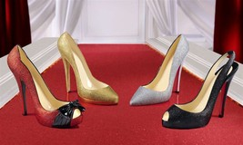 Set of 4 Glitter Stiletto Shoe Wine Bottle Holders Polystone NEW