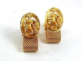 1970's Goldtone ZODIAC MIDAS AQUARIUS Wrap Around Cufflinks 111317 - $16.08