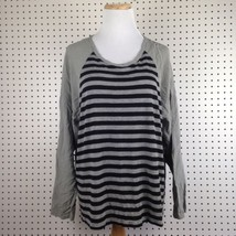 Two By Vince Camuto Women's Striped Black & Gray Shirt Top Blouse Extra ... - $23.31