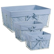 DII Chicken Wire Basket Antique White Removable Fabric Liner, Assorted S... - $22.32