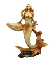 Atlantic Collectibles Mermaid Princess with Dolphin Figurine in Faux Woo... - $24.74