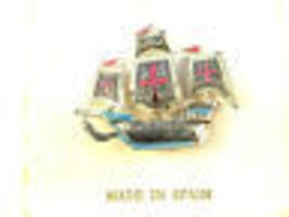 Spanish Damascene Ship vintage Brooch - $13.49