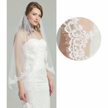 Wedding Bridal Veil with Comb 1 Tier Eyelash Lace Trim Applique Edge Fingertip - $26.17+