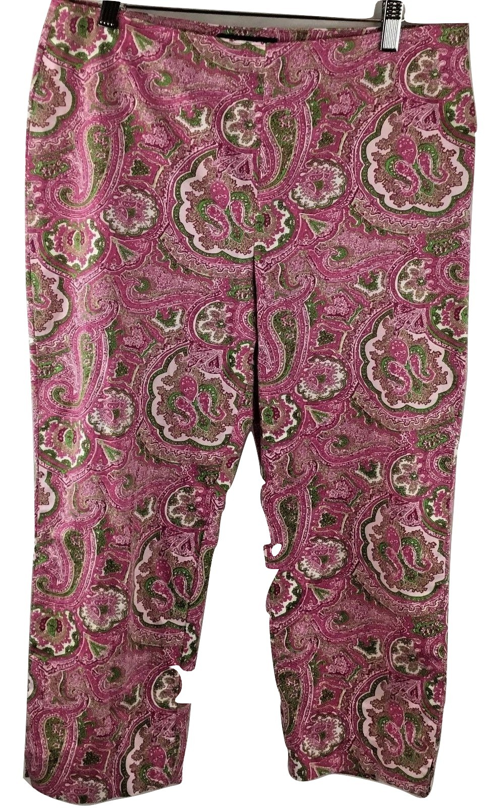 Primary image for Talbots Ladies Classic Side Zip Pink Paisley Capri Stretch Size 10 Petite