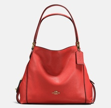 NWT COACH Pebble Leather Edie 31 Tote/Shoulder Bag in Deep Coral MRSP $3... - $199.99