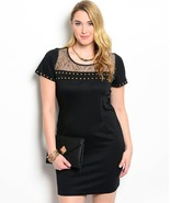 Sexy Studded Black and Gold Party Cruise Cocktail Plus Size Dress XL 2XL... - £24.53 GBP