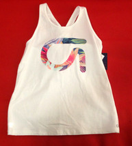 Gap Kids Girls White Active Fit Floral Logo Graphic Racer Cross Back Tan... - $14.84