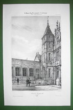 FRANCE Rouen Bourgtheroulde Mansion - SUPERB Litho Antique Print - $16.20
