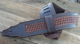 The 3 inch Light Brown Diamond Cross Guitar Strap - $198.00