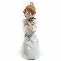 "Lladro ""Sleepy Kitten"" #5712 Glazed Porcelain Figurine Girl W/SLEEPING Cat - $148.49"