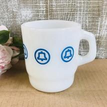 Vintage Bell Telephone Mug Blue Logo Anchor Hocking White Milk Glass Adv... - $49.99