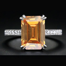 Champagne Stone Rectangular Shape Engagement Ring White Gold Plated 925 ... - $79.68
