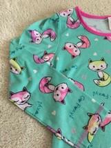 Girls Teal Pink Purple Green Foxes Long Sleeve Nightgown Ruffle Bottom 6 - $6.43
