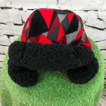 Boys Sz 8-16 Hat Red Black Geo Print Sherpa Lined Trapper Warm Winter Cap - $14.84