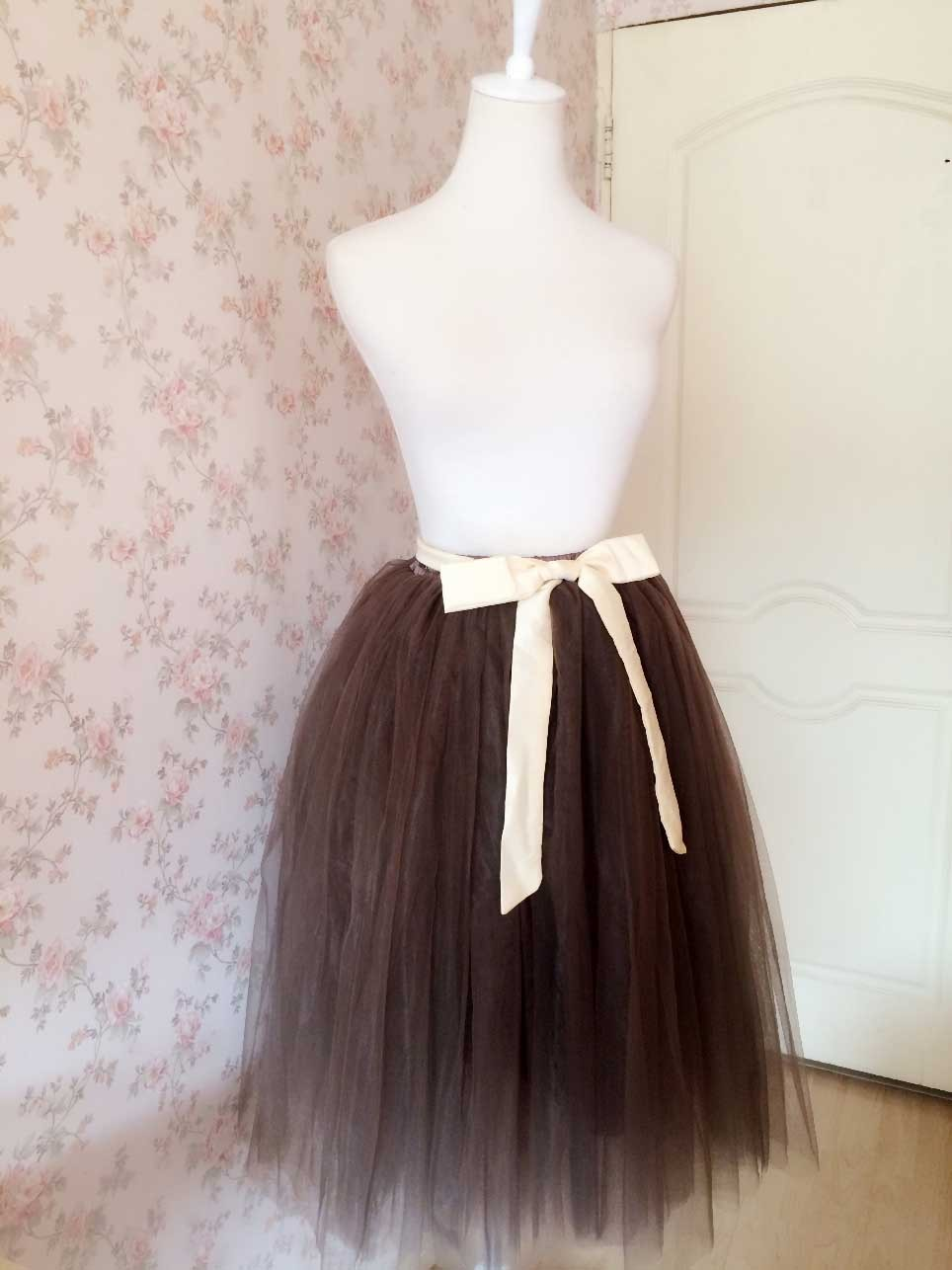 Lady Elastic High Waisted Midi Tulle Skirt Birthday Party Midi Tulle Tutu Skirts