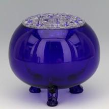 Scarce Viking 1014 Large Cobalt Blue Flowerlite with Crystal Frog image 1