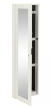 White Wall-Mounted Locking Jewelry Armoire Mirror Wood Beveled Storage O... - $178.15