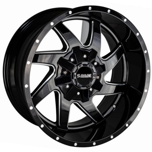 Primary image for 20x12 Savage SA02 5x5.5/5x150 -44 Black Milled Wheels Rims Set(4)