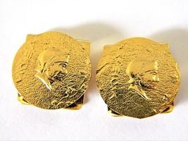 Vtg Roman Gladiator Head Faux Coin Clips Gold Tone Men's Formal Accessor... - $12.19