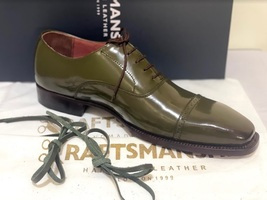 Handmade Men's Green Leather Lace Up Dress/Formal Oxford Shoes image 6